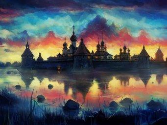Рисунок - монастырь. Фон для оформления личной страницы