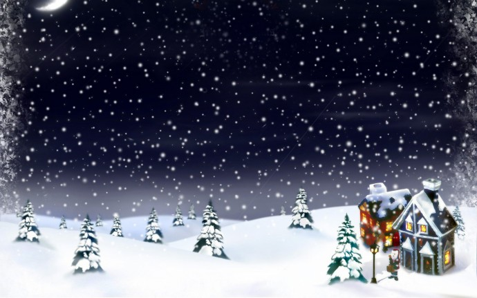 Зима, елки, рисунок. Фон для оформления личной страницы