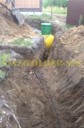 Подземный газопровод от газгольдера к месту ввода в дом