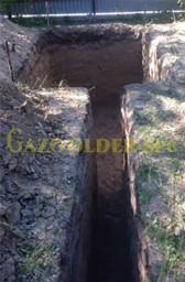 Котлован под газгольдер и траншея для газопровода